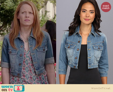 Blank NYC Cropped Denim Jacket worn by Katie Leclerc on Switched at Birth