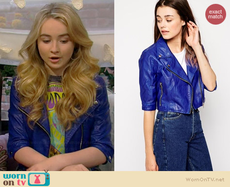 Blank NYC Cropped Faux Leather Biker Jacket worn by Sabrina Carpenter on Girl Meets World