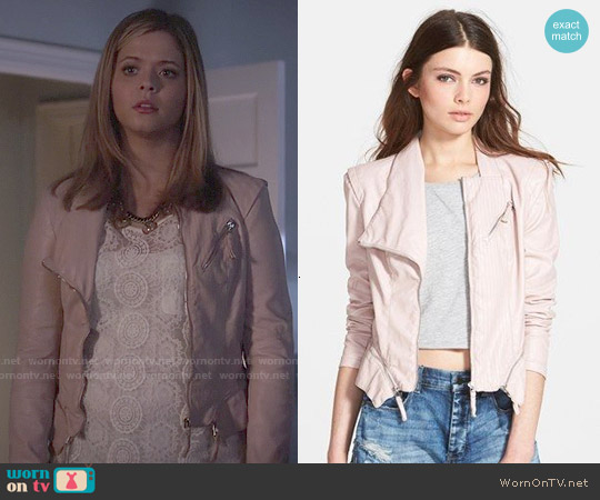 BlankNYC Faux Leather Jacket in Pink worn by Alison DiLaurentis on PLL