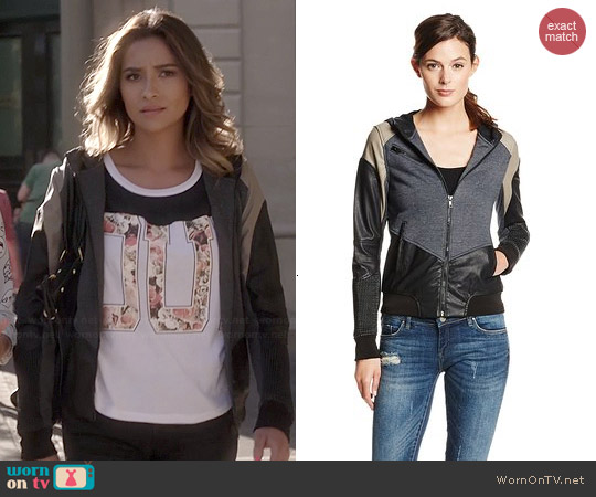 Blank NYC Mixed Media Colorblock Hooded Jacket worn by Shay Mitchell on PLL