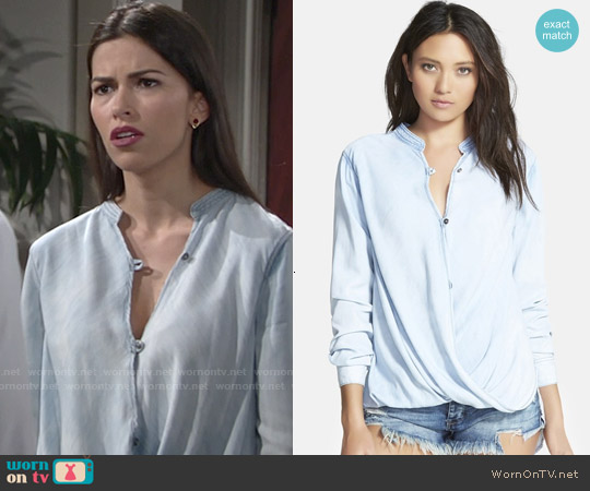 Blank NYC Sugar Baby Shirt in Light Wash Blue worn by Sofia Pernas on The Young & the Restless