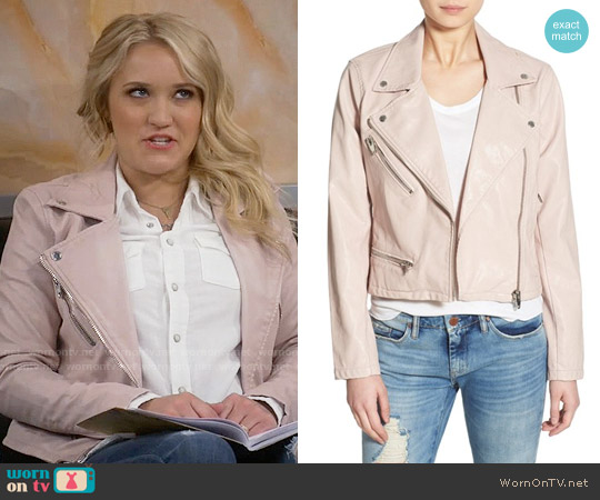 Blank NYC Faux Leather Jacket in No Blushing worn by Emily Osment on Young & Hungry
