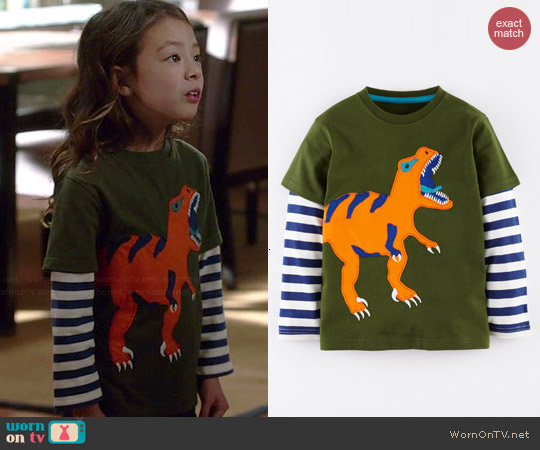Boden Big Creature Tshirt in Fatigue Green Tyrannosaurus worn by Aubrey Anderson-Emmons on Modern Family