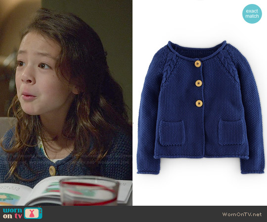 Boden Cable Knit Detail Button Cardigan worn by Aubrey Anderson-Emmons on Modern Family