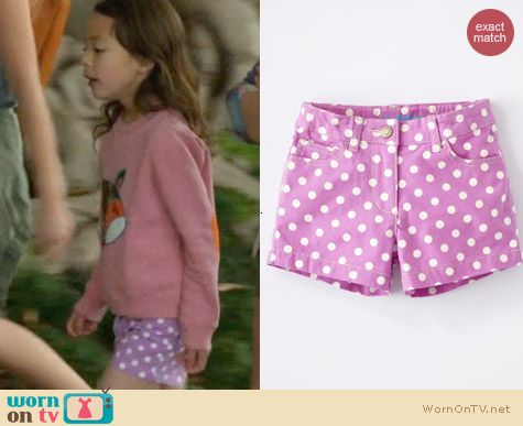 Boden Heart Pocket Shorts in Bright Lilac Spot worn by Aubrey Anderson-Emmons on Modern Family