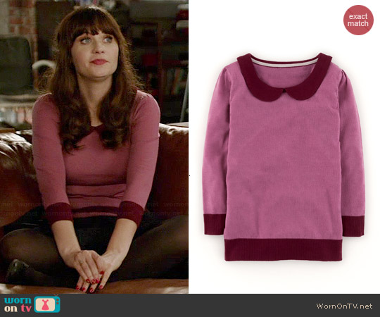 Boden Merino Collared Sweater in Freesia worn by Zooey Deschanel on New Girl