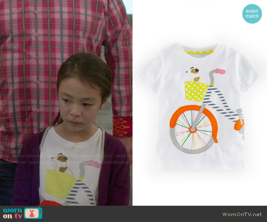 Boden Patchwork Applique Tee in White Bike worn by Aubrey Anderson-Emmons on Modern Family