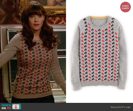 Boden Pattern Sweater in Grey worn by Zooey Deschanel on New Girl
