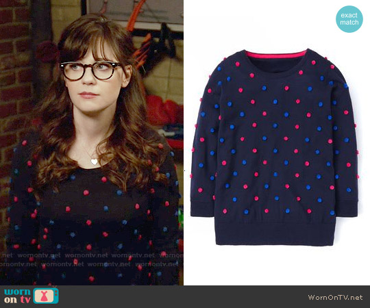Boden Pom Pom Jumper worn by Zooey Deschanel on New Girl