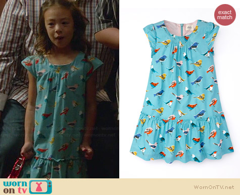 Boden Pretty Printed Cord Dress in Duck Egg Garden worn by Aubrey Anderson-Emmons on Modern Family