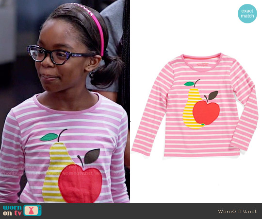 Mini Boden 'Stripy Appliqué' Tee worn by Marsai Martin on Blackish