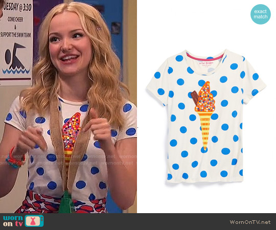 Boden Girls' Twinkly Applique Tee worn by Dove Cameron on Liv & Maddie