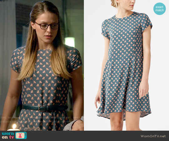 Boden Victoria Dress in Jade Fans worn by Melissa Benoist on Supergirl