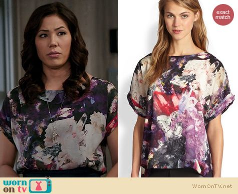 Bones Fashion: Alice & Olivia Neptune Crystal Top worn by Michaela Conlin