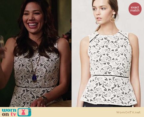 Bones Fashion: Anthropologie Scrolling Lace Peplum blouse worn by Michaela Conlin
