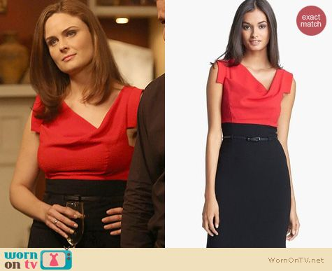 Bones Fashion: Black Halo Jackie Colorblock Dress worn by Emily Deschanel