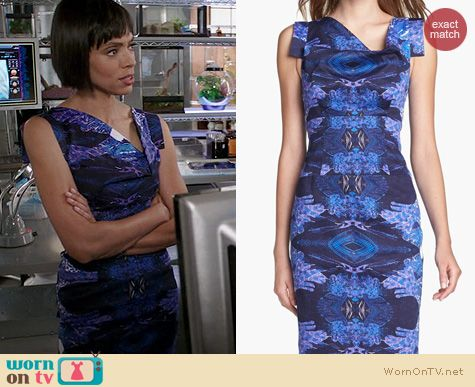 Bones Fashion: Black Halo Jackie O Dress in purple print worn by Tamara Taylor