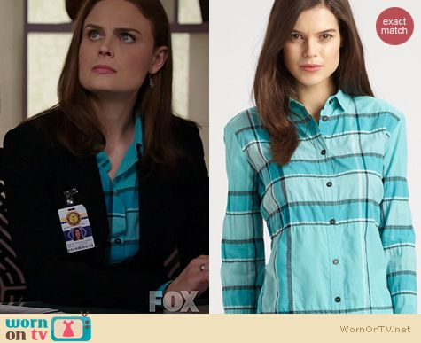 Bones Fashion: Burberry Checked Shirt worn by Emily Deschanel
