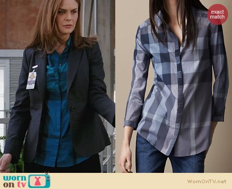 Bones Fashion: Burberry Check Shirt worn by Emily Deschanel