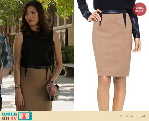 WornOnTV: Angela's beige skirt with leather triangle insets and ...