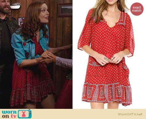Fashion of Bones: Free People Penny Lane Red Dress worn by Emily Deschanel