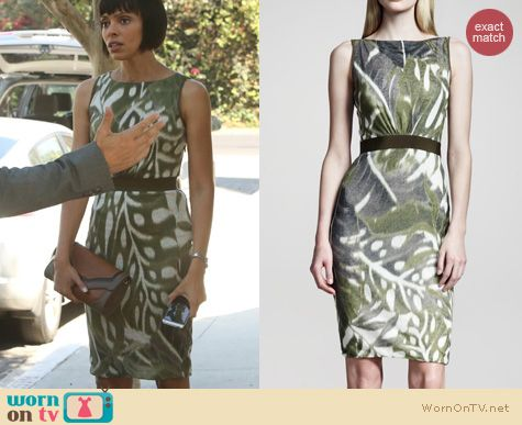 Bones Fashion: Giambattista Valli Leaf Print Linen Dress worn by Tamara Taylor