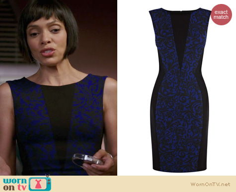 Bones Fashion: Karen Millen Brocade Print dress worn by Tamara Taylor
