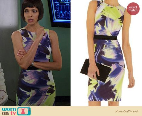Bones Fashion: Karen Millen Dramatic Print Dress worn by Tamara Taylor