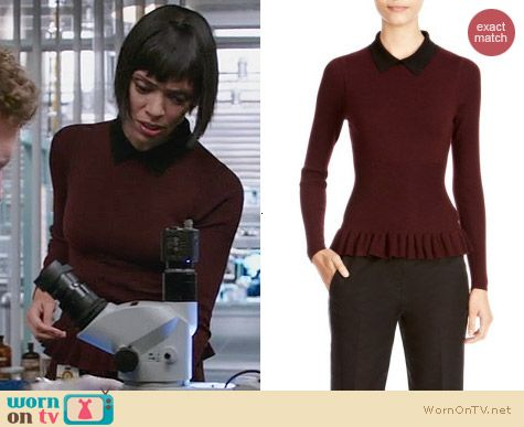 Fashion of Bones: Karen Millen Peplum Knit Collar Sweater worn by Tamara Taylor