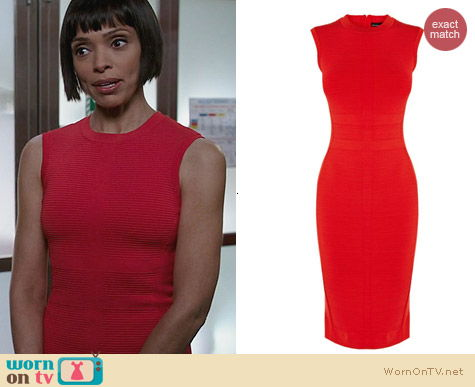 Fashion of Bones: Karen Millen Red Texture Stripe Bandage Knit Dress worn by Tamara Taylor