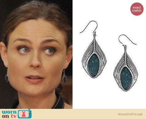 Bones Fashion: Lucky Brand Peacock Feather Earrings worn by Emily Deschanel