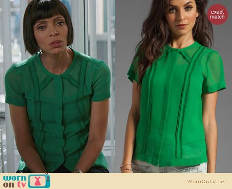 Fashion of Bones: Marc by Marc Jacobs Gator Green Crystal Textured Silk Blouse worn by Tamara Taylor