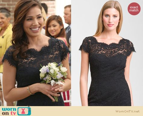 Bones Fashion: Monique Lhuillier Lace Overlay Dress worn by Michaela Conlin