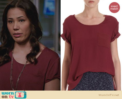 Fashion of Bones: Rag & Bone Silk Pocket Tee in Wine worn by Michaela Conlin