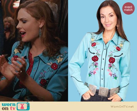 Fashion of Bones: Scully Turquoise Ponderosa Shirt worn by Emily Deschanel