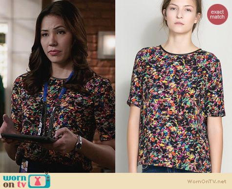 Fashion of Bones: Zara Printed Top worn by Michaela Conlin