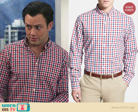 Bonobos Check Republic Gingham Shirt worn by Jonathan Sadowski on Young & Hungry