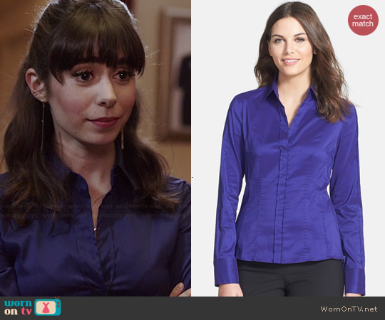 Hugo Boss Bashina Poplin Shirt in Plum worn by Cristin Milioti on A to Z