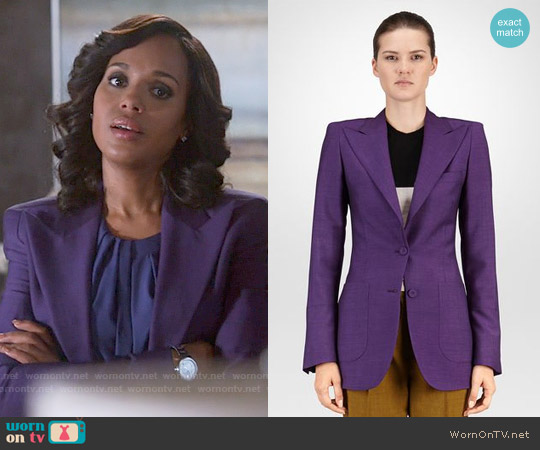 Bottega Veneta Jacket in Dark Byzantine Wool Mohair worn by Kerry Washington on Scandal