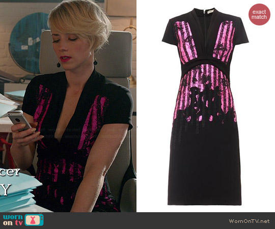 Bottega Veneta Embroidered Japanese Crepe Dress worn by Karine Vanasse on Revenge