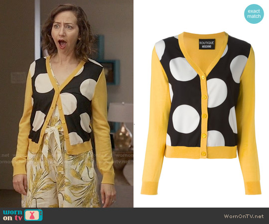 Boutique Moschino Polka Dot Panel Cardigan worn by Kristen Schaal on Last Man On Earth