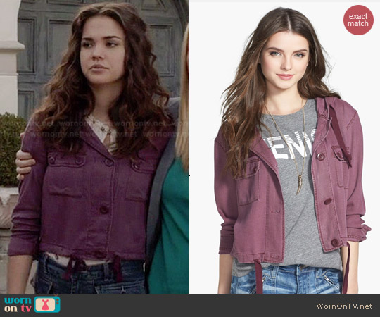 BP Hooded Crop Chambray Jacket in Brown Decadent worn by Maia Mitchell on The Fosters