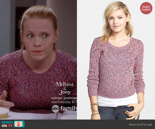 BP Marled Crop Pullover worn by Katie Leclerc on Switched at Birth