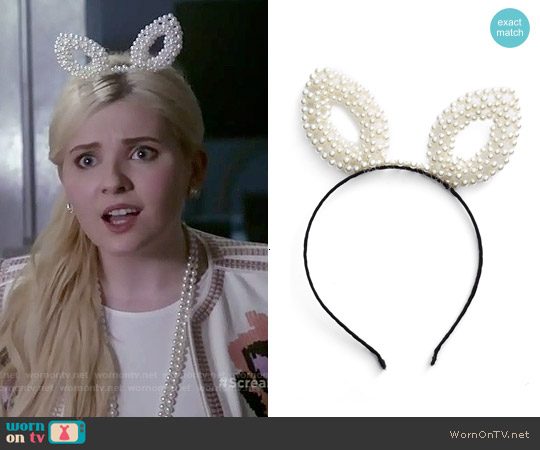 BP Pearly Bunny Ear Headband worn by Abigail Breslin on Scream Queens