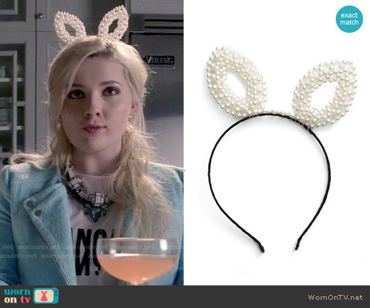 BP Pearly Bunny Ear Headband worn by Chanel #5 on Scream Queens
