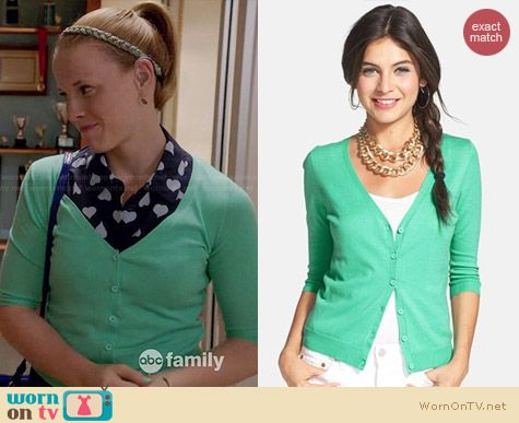 BP V-neck Three-quarter Cardigan in Green Serene worn by Katie Leclerc on Switched at Birth