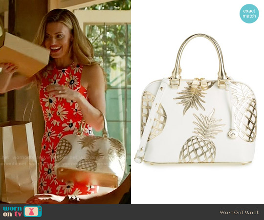 Brahmin Vivian Pineapple Dome Satchel worn by Brooke D'Orsay on Royal Pains