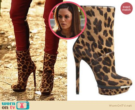 Brian Atwood Fuveau Leopard Platform Booties worn by Rachel Bilson on Hart of Dixie