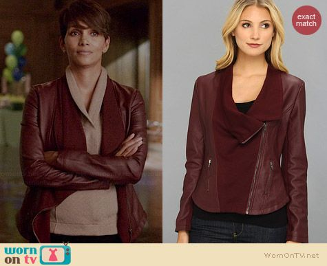 Brigitte Bailey Oxblood Alyssa Jacket worn by Halle Berry on Extant