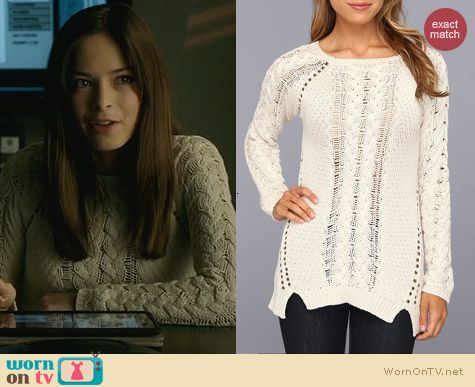 Brigitte Bailey Kya Sweater in White Bleach worn by Kristin Kreuk on Beauty and the Beast